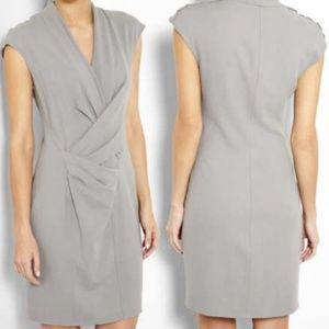 Helmut Lang Gray Twist Front Wool Blend Dress